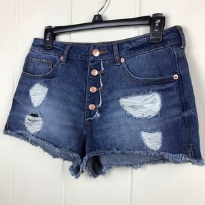 Forever 21 Distressed Denim Jean Shorts High Rise